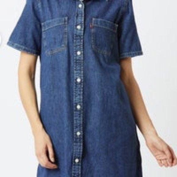 Levi's Blue Denim Shirt Dress Button Down Small